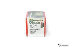Palle ogive Hornady V-Max calibro 22 .224″ – 55 gr grani V-Max – 100 pezzi – #22271 mod