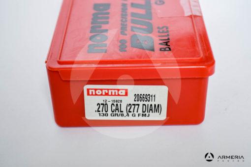 Palle ogive Norma Precision calibro 270 Win .277 - 130 grani FMJ - 100 pezzi modello