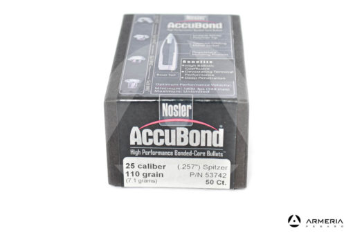 "Palle ogive Nosler Accubond calibro 25 .257"" - 110 grani - 50 pezzi #53742 modello"