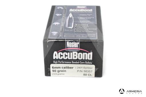 "Palle ogive Nosler Accubond calibro 6 mm .243"" - 90 grani - 50 pezzi #56357 modello"