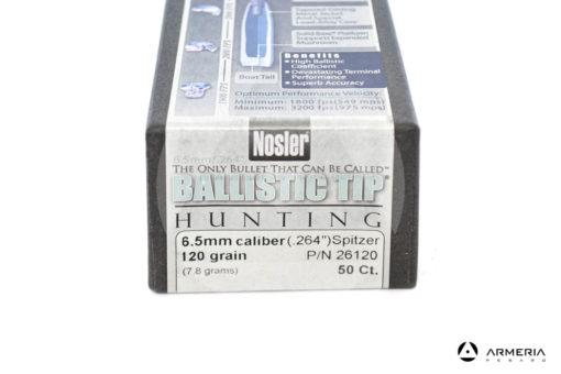 Palle ogive Nosler Ballistic Tip Hunting calibro 6.5 mm - 120 grani - 50 pezzi #26120 modello