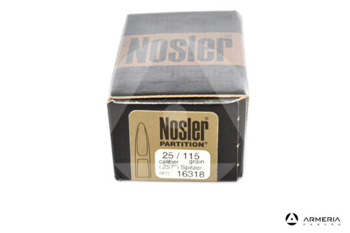 Palle ogive Nosler Partition calibro 25 .257″ – 115 grani – 50 pezzi #16318 modello