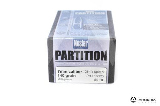 "Palle ogive Nosler Partition calibro 7mm .284"" - 140 grani – 50 pezzi #16325 modello"