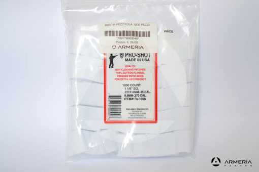 Busta set pezzuole Pro Shop 100% cotone per pulizia pistola 1000 pz