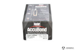 "Palle ogive Nosler Accubond calibro 7 mm .284"" - 140 grani - 50 pezzi #59992 modello"